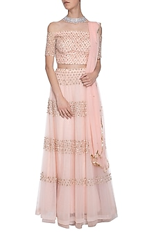 Pink floral embroidered lehenga set by ANK BY AMRIT KAUR