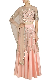Pink and Gold Scallop Embroidered Blouse and Lehenga Set by Ank By Amrit Kaur