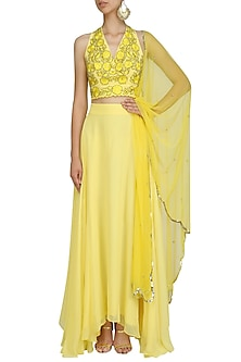 Yellow Floral Embroidered Blouse and Palazzo Pants Set by Ank By Amrit Kaur