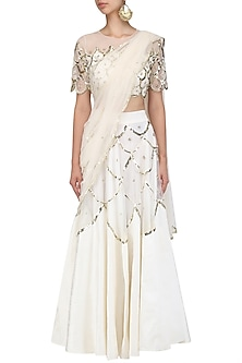 Off White and Gold Scallop Embroidered Blouse and Lehenga Set by Ank By Amrit Kaur