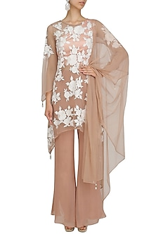 Beige Floral Embroidered Kurta and Palazzo Pants Set by Ank By Amrit Kaur