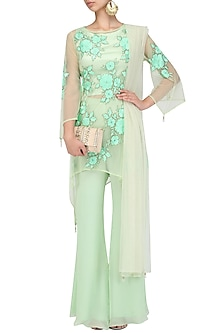 Green Floral Embroidered Kurta and Palazzo Pants Set by Ank By Amrit Kaur
