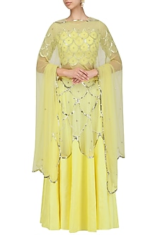 Yellow Scallop Embroidered Blouse and Lehenga Skirt Set by Ank By Amrit Kaur