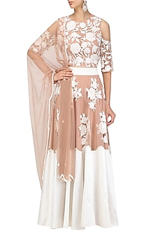 Beige Floral Work Cold Shoulder Blouse and Lehenga Set by Ank By Amrit Kaur