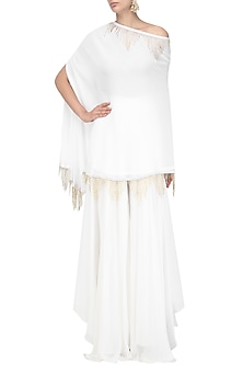 Off White One Shoulder Kaftan and Palazzo Pants Set by Ank By Amrit Kaur