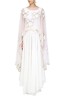 Off White Floral Embroidered Cape and Palazzo Pants Set by Ank By Amrit Kaur