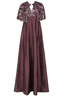 Wine Halter Neck Gown  and Floral Embroidered Sheer Cape Set by Ank By Amrit Kaur