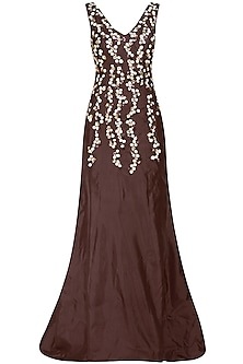 Marsala Red Floral Embroidered Gown by Ank By Amrit Kaur