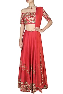 Red  and Gold Floral Embroidered Lehenga  and Off Shoulder Blouse Set by Ank By Amrit Kaur-SHOP BY STYLE