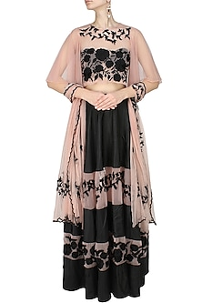 Black Flowers  and Birds Embroidered Lehnega  and Blush Blouse Set by Ank By Amrit Kaur