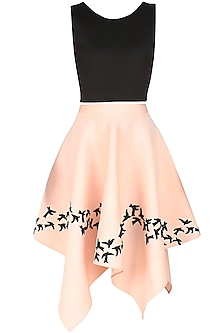 Pink  and Black Embroidered Bird Motifs Flared Skirt  and Top Set by Ank By Amrit Kaur