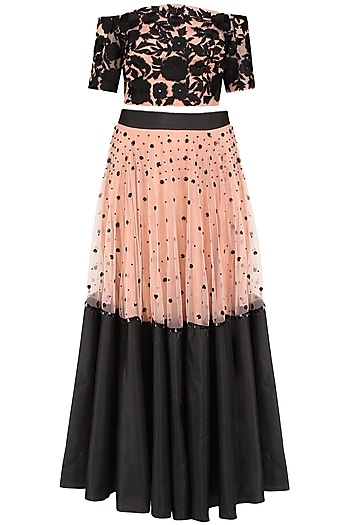 Black  and Peach Floral Embroidered Lehenga  and Dusty Rose Off Shoulder Set by Ank By Amrit Kaur