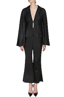 Black Floral Sequins  and Cutdana Embroidered Coat  and Flared Pants Set by Ank By Amrit Kaur