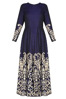 Navy Blue Embroidered Anarkali Set by Ank By Amrit Kaur