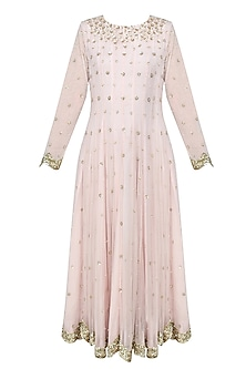 Pink Pearls  and Sequins Embroidered Anarkali Set by Ank By Amrit Kaur