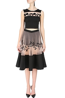 Blush  and Black Embroidered Top  and Skirt Set by Ank By Amrit Kaur