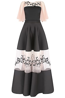Black Wing Sleeves Top  and Skirt Set by Ank By Amrit Kaur