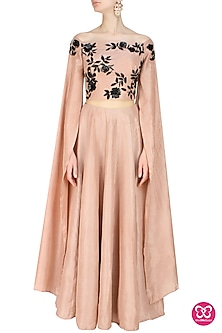 Dusty rose off shoulder wing sleeves embroidered blouse and lehenga set by Ank By Amrit Kaur