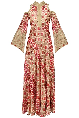 Red And Beige Printed Shoulder Cut Gown by Anoli Shah