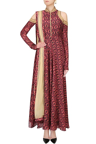 Red And Black Printed Shoulder Cut Gown by Anoli Shah