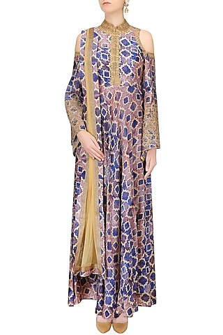 Blue, Purple And Beige Printed Shoulder Cut Gown by Anoli Shah