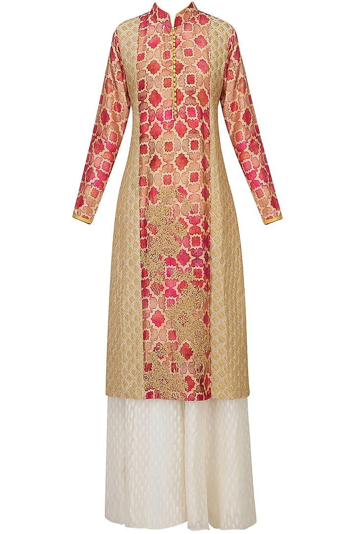 Red Printed Dori Embroidered Kurta And Off White Sharara Pants Set by Anoli Shah