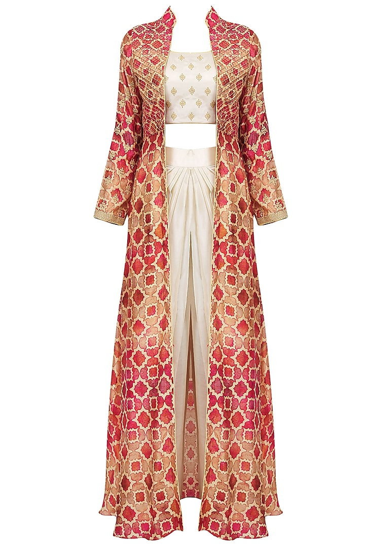 Off White Embroidered Crop Top And Dhoti Pants With Red Printed Jacket by Anoli Shah