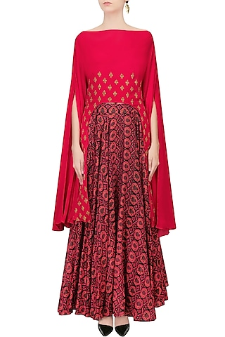 Pink Embroidered Cape With Black And Red Printed Skirt by Anoli Shah