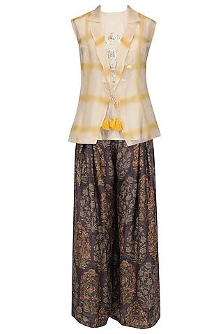 Beige Crop Top, Ajrakh Pallazo Pants and Jacket Set by Anoli Shah