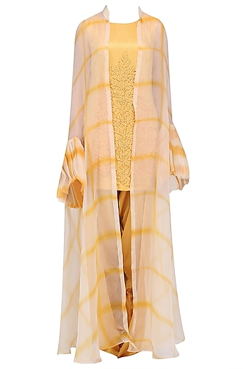 Yellow and Beige Shibori Jacket, Top and Cowl Pants Set by Anoli Shah