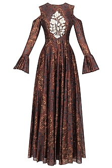 Maroon Printed Cold Shoulder Gown by Anoli Shah