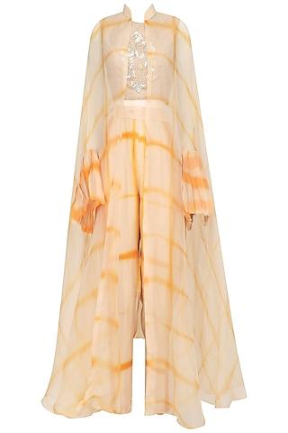 Beige and Yellow Shibori Jacket, Crop Top and Palazzo Pants Set by Anoli Shah