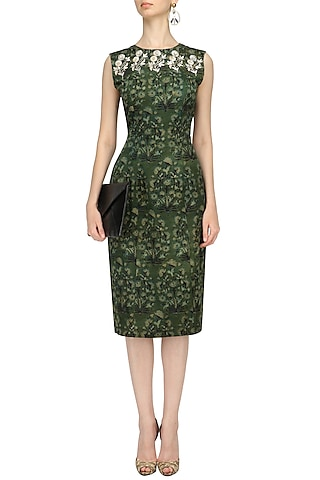 Green Floral Print Pencil Fitted Dress by Anoli Shah