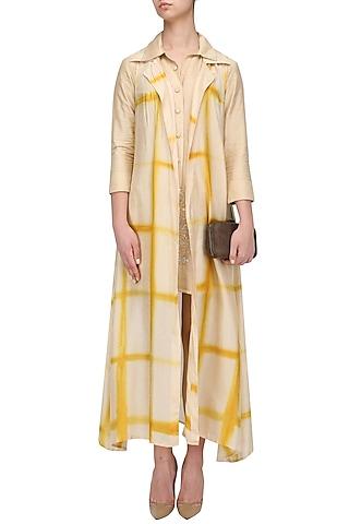 Beige and Yellow Shibori Jacket and Monga Top Set by Anoli Shah