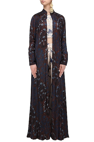 Beige and Blue Shibori Crop Top, Dhoti Pants and Jacket Set by Anoli Shah