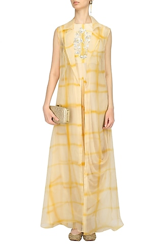 Beige and Yellow Cowl Dress and Jacket Set by Anoli Shah