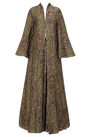 Beige Crop Top, Grey Skirt and Brown Printed Jacket Set by Anoli Shah