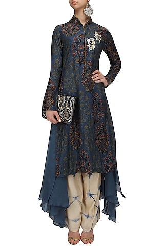 Blue Printed Top and Palazzo Pants Set by Anoli Shah