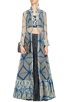 Blue Printed Crop Top, Skirt and Shibori Jacket Set by Anoli Shah