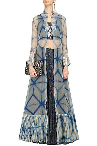 Blue Printed Crop Top, Skirt and Shibori Jacket Set by Anoli Shah
