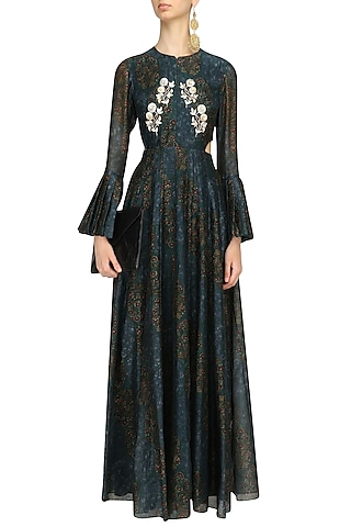 Green Floral Print Side Cut Gown by Anoli Shah