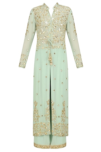 Pista Green Pearl Embroidered Jacket and Churidaar Set by Anushka Khanna