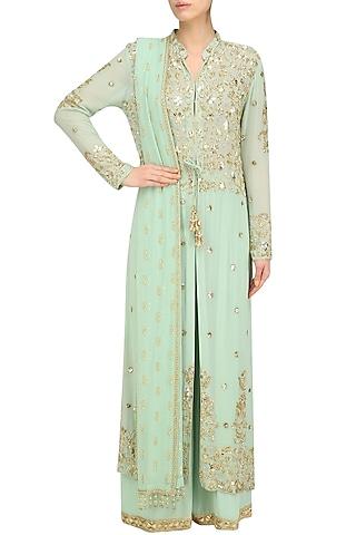 Pista Green Pearl Embroidered Jacket and Churidaar Set by Anushka Khanna