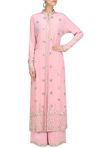 Blush Pink Silver Embroidered Long Jacket and Sharara Pants by Anushka Khanna