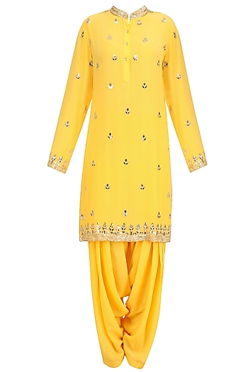 Mango Yellow Gold Embroidered Short Kurta and Patialla Set by Anushka Khanna