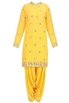 Mango Yellow Gold Embroidered Short Kurta and Patialla Set by Anushka Khanna