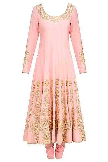 Blush Pink Gold Sequin Embroidered Anarkali and Churidaar Set by Anushka Khanna