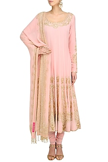 Blush Pink Gold Sequin Embroidered Anarkali and Churidaar Set by Anushka Khanna