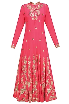 Coral Anarkali with Gold Floral Embroidery and Churidaar Set by Anushka Khanna