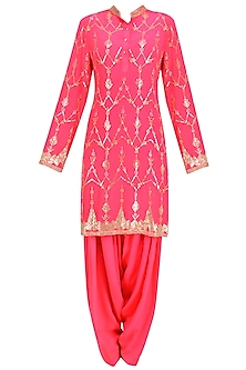 Hot Pink Jaal Embroidered Short Kurta and Patialla Set by Anushka Khanna